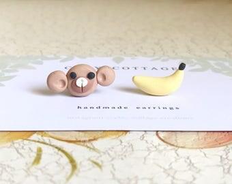Monkey & Banana Mismatch Earrings
