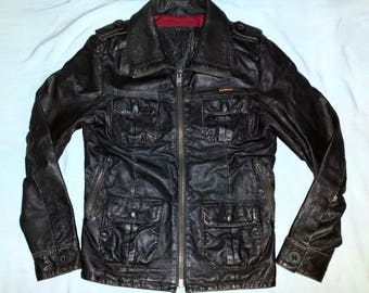 SuperDry 'BRAD' Cafe Racer Biker Vintage Leather Jacket - UK Size S