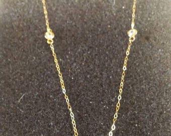 14k Gold and Bezel Set Cubic Zirconia Necklace