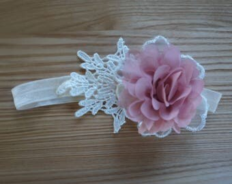 Baby Girl Rustic Burnt Pink & White Lace Headband