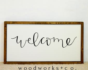 Hand Lettered Welcome Framed Canvas
