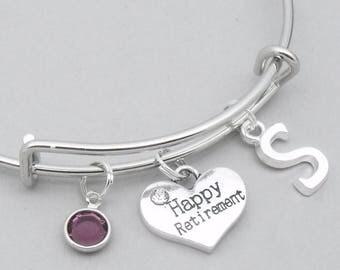 Happy Retirement monogram charm bracelet   retirement bangle   personalised retirement bracelet   retirement jewelry   retirement gift