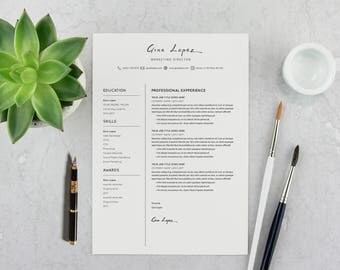 Pdf Professional Resume Template - Modern CV Design - Easy Instant Download for PDF-PSD - Creative and Inspiring look for Jobseekers