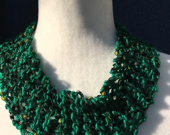 Emerald green with green ladder yarn cowl