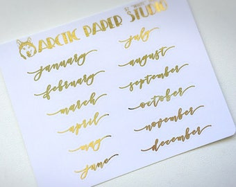 Month SCRIPTS - FOILED Sampler Event Icons Planner Stickers