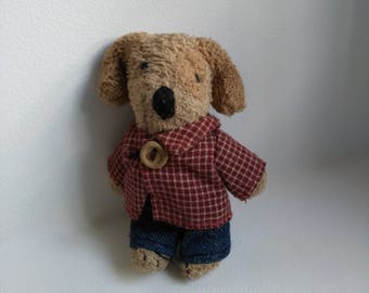 Stuffed dog miniature vintage French