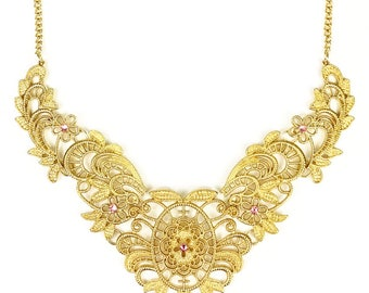 Gold Necklace, Gold Jewelry, Womens Necklace, Flower Jewellery, Flower Necklace, Womens Jewellery