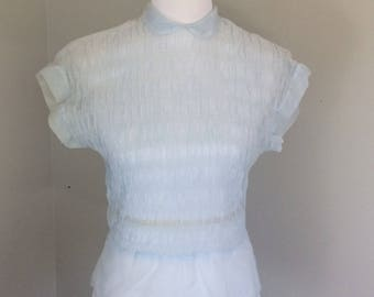 1950's Baby Blue Sheer Blouse