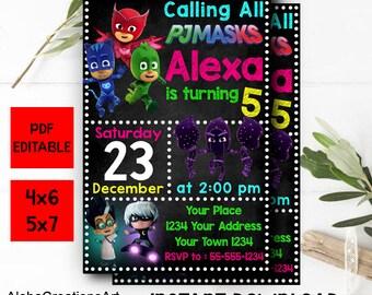 INSTANT DOWNLOAD - Pj Masks Birthday, Pj Masks Invitation, Pj Masks PDF Editable, Pj Masks Instant Download, Pj Masks Editable Invites