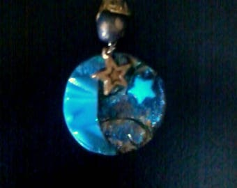 Moon and Star Gold and blue cosmos pendant fluorescent