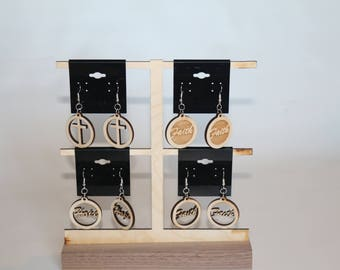 Choice of Assorted Wooden Engraved Hanging Earrings
