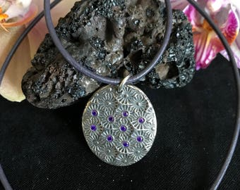 Sterling silver Pendant with cubic zirconia and real leather cord