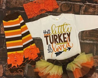 Girl Coming Home Outfit, Newborn Outfit, Gold Thanksgiving Outfit, Fall Gift, Baby Girls Newborn Thanksgiving Set, Brown and Gold