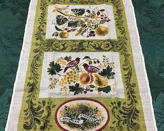 Vintage Kaydee Hand Printed Linen Tea Towel American Stencilling Bonheur T25
