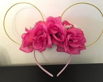 Pink floral wire Mickey ears
