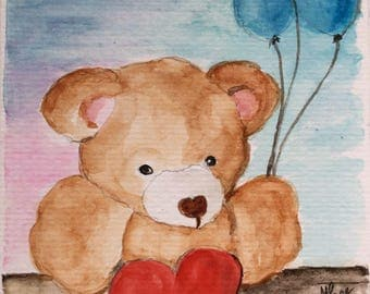 Teddy Bear card/Teddy Bear and Balloons/Watercolor Greeting Card/I love you card/Teddy Bear Card/Watercolor Card