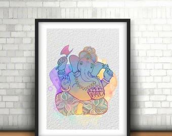 Ganesh print,Ganesha art print,Ganesha wall art,Yoga Poster,Printable yoga art,Yoga wall posters,Yoga wall art,Yoga studio decor,Yoga decor