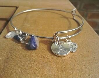 Gemstone sodalite and quartz personalised bangle,  choose your initial