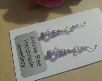 Glass pearl wirewrap faceted bead lilac earrings