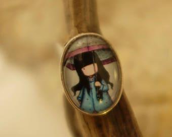 ring cabochon blue waterproof umbrella girl