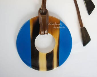 Sapphire Blue color horn and lacquer pendant
