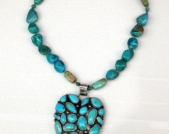 Sterling Silver Barse Huge Turquoise Heart Pendant