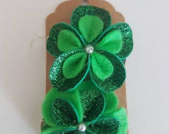 Emerald Green flower Hair Clip - The Penny