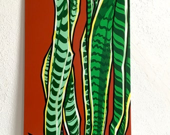 Snake Plant- (painting on canvas board)/Original art, Contemporary art, Montana artist, Acrylic, Pop, Art collectors, Colorful, plant lovers