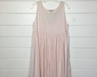 Vintage 1990s Pale Pink Cotton Sundress / Babydoll Dress / Indian Cotton / Made by Partners / Embroidered