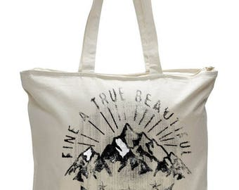 Heavy Canvas Zipper Tote Bag with Long Handles