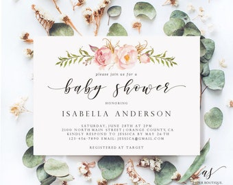 Rustic Peony Floral Floral Baby Shower Invitation Baby Girl Shower Invites  Baby Shower Template Invite Printable  Baby Shower Template Invitations