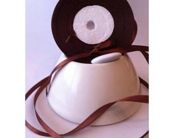 Lot de 2 Rouleaux de Ruban Satin Simple Face Pas Cher Chocolat 25 m X 6 mm