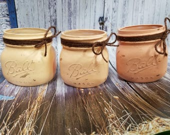 Set of 3 Pink Ombre Painted Mason Jars, Pink, Vintage Decor, Ball Mason Jar, Rustic Home Decor, Distressed, Shabby Chic, Table Decor