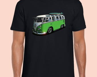 Kombi VW Volkswagen.  Green Vw Vintage T-Shirt. Black 100% Cotton Tshirt