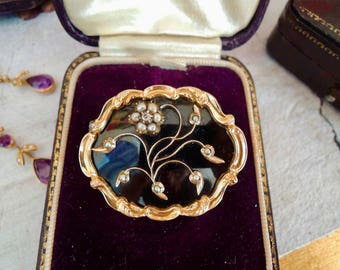 Antique Victorian Gold  Pearl  Diamond Black Enamel Brooch