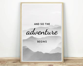 Adventure Begins - Inspirational Art, Printable Wall Art, Adventure Art Print, Adventure Quote, Printable Art, Adventure Poster