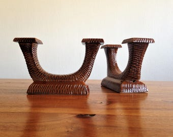 Pair of double candle holders ceramic