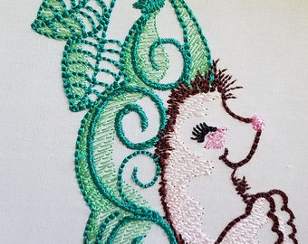 Hedgehog in Pea Pod - Machine Embroidery Design