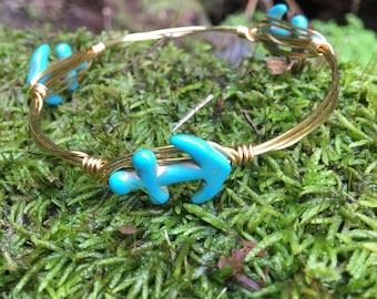 Anchor turquoise bead bangle bracelet