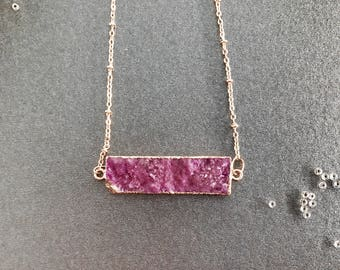 Natural crystal clavicle necklace pink