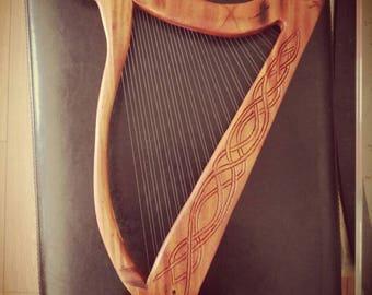 Celtic carved harp