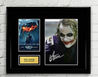 The Joker Heath Ledger - The Dark Knight - Signed Poster Art Print Artwork - Christian Bale Batman, Harvey Dent, Gotham