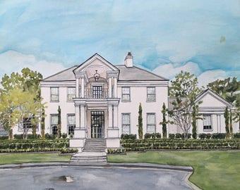 Custom Manor/Estate House Painting-House Portrait-Watercolor-Custom Estate/Manor Home Painting
