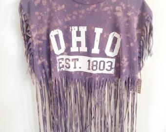 Country Concert Shirt //Ohio T-Shirt // Womens Ohio Shirt // Upcycled Shirt // Womens Recycled Shirt // Fringe shirt