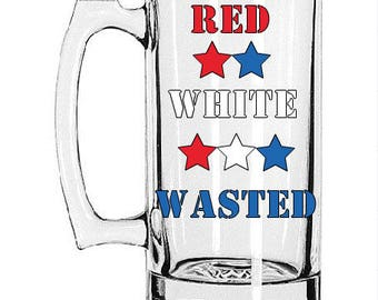 Red White & Wasted Beer Mug