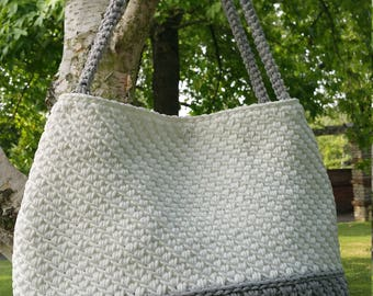 Handmade/Light Grey/White/Crochet/Knitted/ Rope/Original & Elegant Handbag