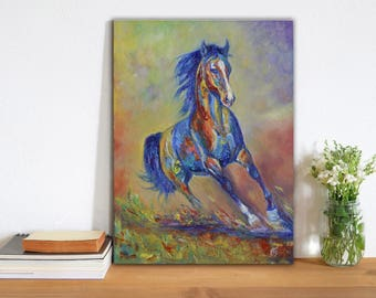 Horse oil painting on canvas Colorful modern art Animal Abstract horse Wall art Totem Wild horse Running horse Original art MADE TO ORDER