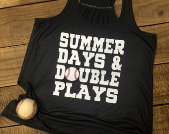 Summer Days and Double Plays, Baseball Tank or Softball Tank, Ball Mom Tank, Ladies Flowy Racerback Tank