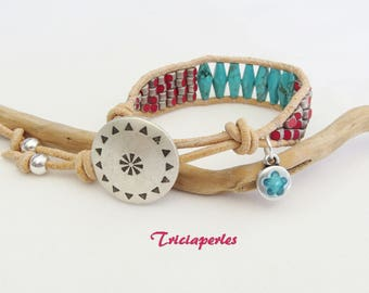 Bracelet leather turquoise wrap bracelet Native American, native bracelet
