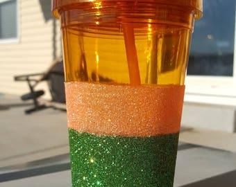 Orange and Green Glitter Tumbler FREE SHIPPING to USA